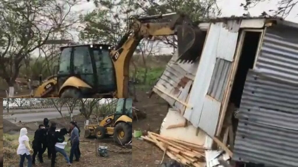 El drama que vivió una familia humilde al ser desalojada y su casa destruida en el Estado de Veracruz, fue captado en un video que se ha dado a conocer en redes sociales.