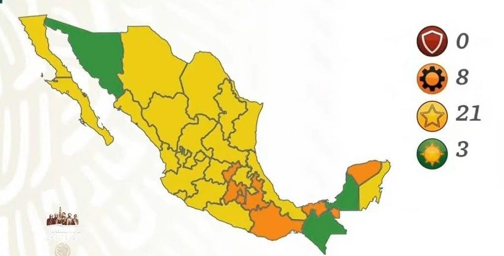 Las autoridades de Salud actualizaron, la noche del viernes 12 de marzo de 2021, el semáforo epidemiológico para los próximos 15 días. Campeche, Chiapas y Sonora están en verde.
