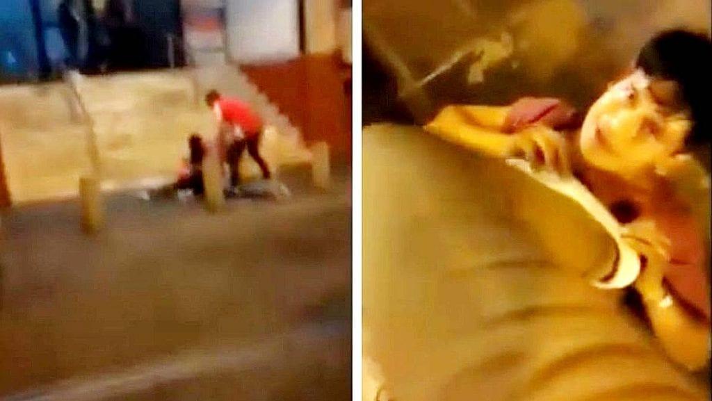 Video joven golpea a una mujer, hasta que es sometido por los testigos