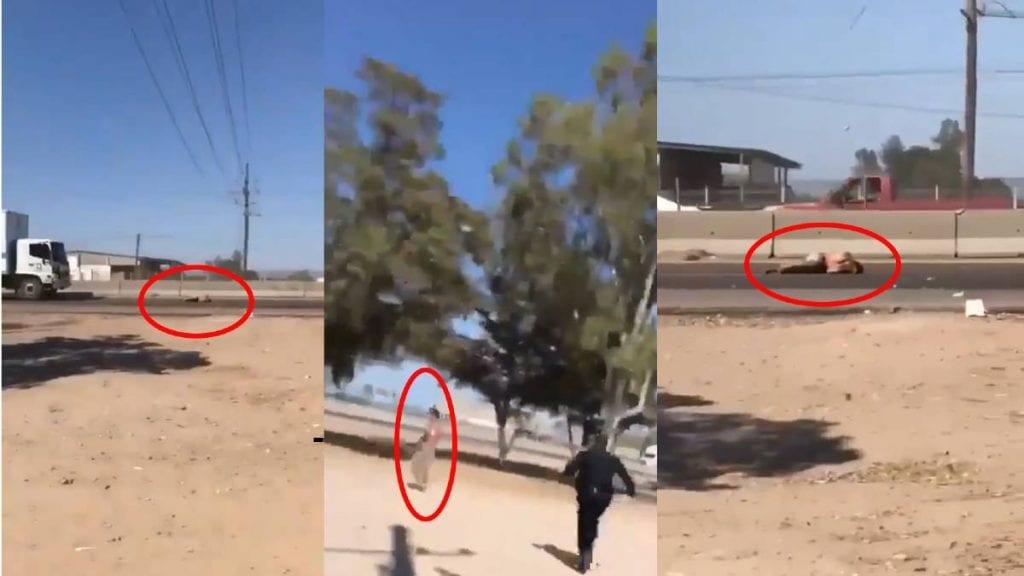 Video trailer atropella a un hombre que huía de la policía