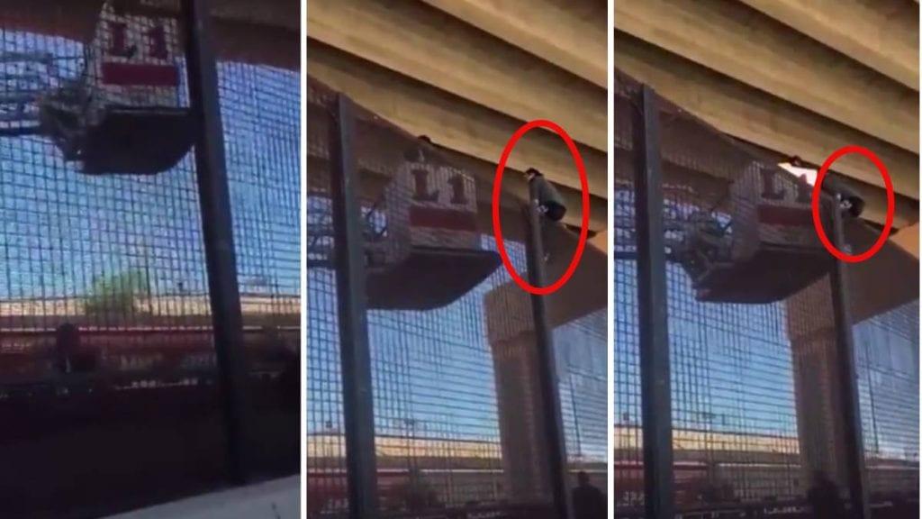 Mujer embarazada se queda atrapada al escalar el muro en Ciudad Juárez (video)