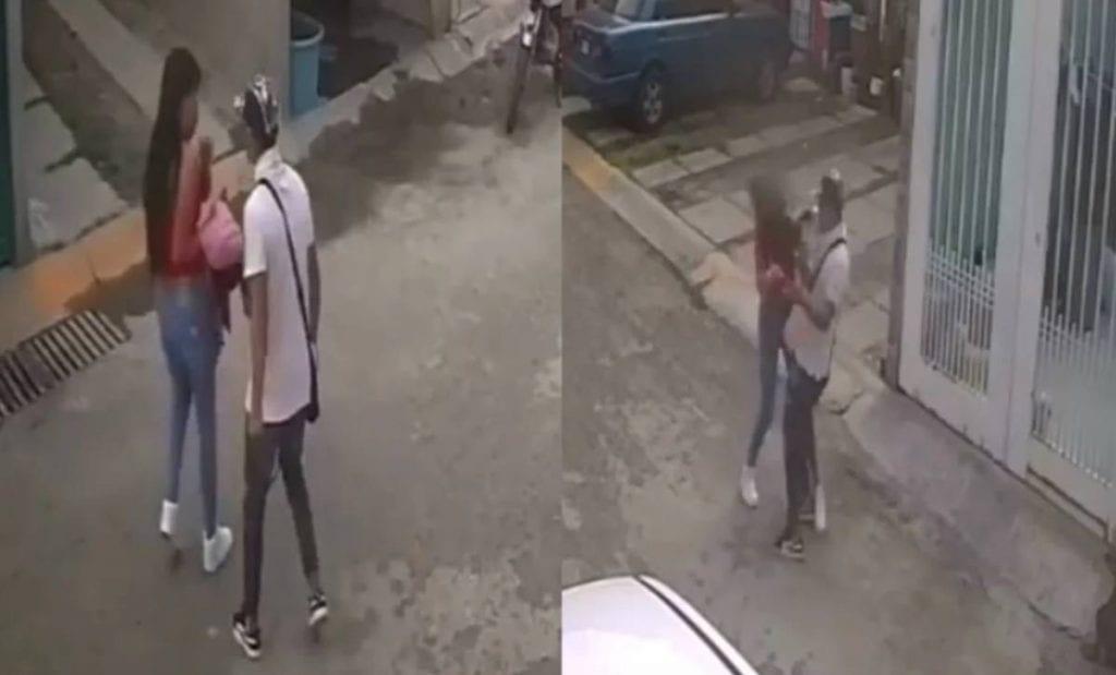 Cámaras de videovigilancia captaron el momento en el que un hombre golpea a una joven en un Fraccionamiento del municipio de Ecatepec, en el Estado de México.