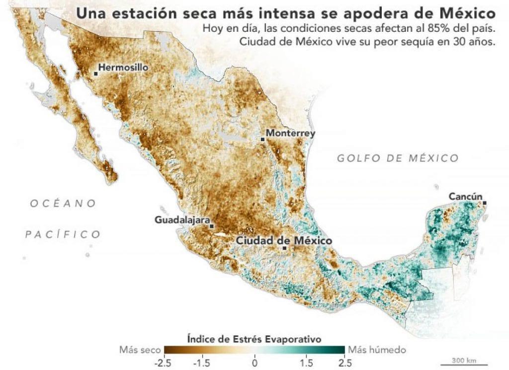 Con base en imágenes de satélite, la NASA alertó sobre la grave sequía que vive México y los bajos niveles en la mayoría de las presas, incluidas las que surten de agua al Sistema Cutzamala.
