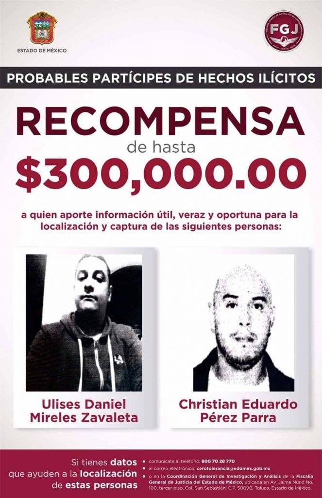 La Fiscalía General de Justicia del Estado de México (FGJEM) ofrece una recompensa de hasta 300 mil pesos a quien aporte información útil para localizar y aprehender a dos delincuentes