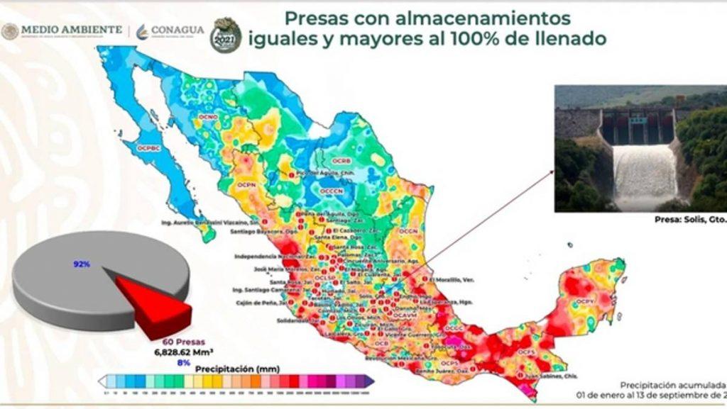 Durante la última semana, 60 de las 210 principales presas que monitorea la Comisión Nacional del Agua (Conagua) se encuentran al 100 por ciento de su capacidad de llenado o incluso lo rebasan